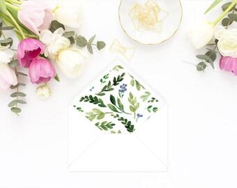 Printable Envelope Liner  | Botanical Envelope Liner | Envelope Liner Template - Watercolor Foliage