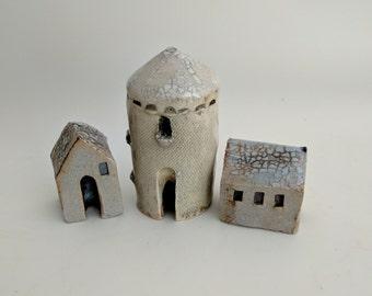 Miniature clay house, small houses, tiny house, small ceramic house, Little house, terrarium decor, secret garden, Housewarming gift