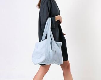 Linen Tote bag, Tote Bag with Two Pockets, Shoulder Bag, Linen Market Tote, Natural Softened Linen Bag, Linen Tote