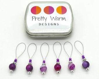 Purple Knitting Stitch Markers - Snag Free Stitch Markers - Beaded Stitch Markers - Gift for Knitters - Stitch Marker - Stitchmarkers