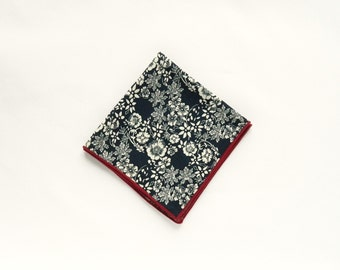 Navy blue floral pocket square navy blue floral Prints wedding gifts for men groomsmen