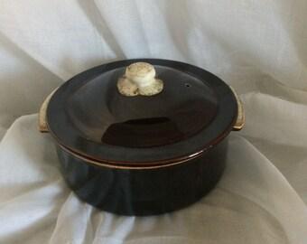 """PFALTZGRAFF -Lidded Casserole-Bean Pot-Gourmet Brown """"Drip""""  Pattern-Vintage Kitchen-Classic Cookware-Bake Ware-Cook's Gift-Hostess Gift"""