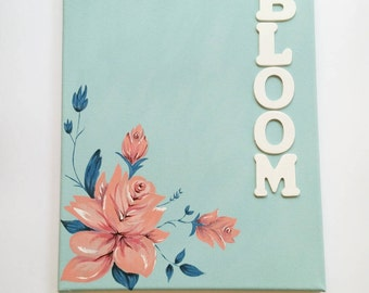 Floral Canvas Art, Blue and Coral, Handpainted Canvas, Wall Art, Home Decor