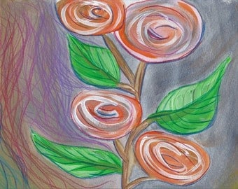 8in x 10in Spiral Flowers Abstract Print