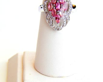 Natural Pink Tourmaline & White Topaz Ring. Pink Tourmaline Marquise Gemstone Ring. October Birthstone. Fashion Stylish Sterling Silver Ring