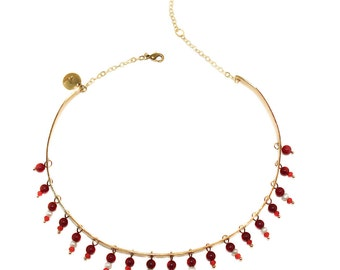 Satine - hand made brass choker with deep crimson, freshwater pearl and orange beads