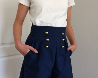 Now Available In More Sizes!!! Navy Blue Sailor Shorts/High Waist Shorts/Vintage Inspired Shorts/Wide Leg Shorts