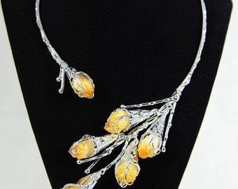 Silver Asymetrical Harlow Collar Necklace With Yellow Citrine