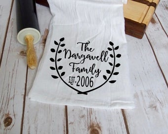 Flour Sack Kitchen TEA TOWEL Ring Spun Cotton 28 x 28 PERSONALIZED Family Name Established Year Wedding Date Wedding Gift Anniversary Gift
