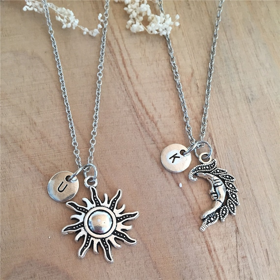 Set of 2 Sun and moon Necklace Initial Necklace 2 Best