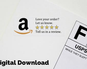 Digital Download Amazon Review Sticker - Printable Custom Sticker, Product Packaging Sticker, Amazon Custom Shipping Supplies, 5 Star Review