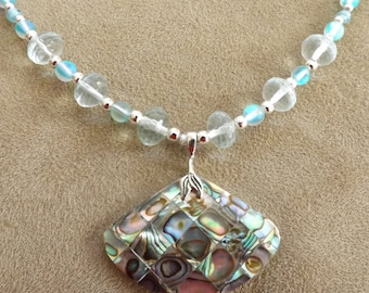 Abalone Shell Inlay Pendant with Aqua Marine and Turquoise Cat's Eye Beads
