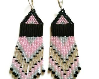 Pink black earrings Boho dangle earrings Bohemian long earrings Gypsy beaded earrings Handmade jewelry Patterns jewelry Gift for girlfriend