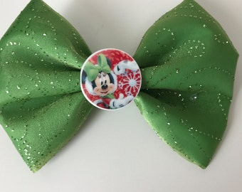 Minnie Mouse Green & Red Christmas / Holiday Bow