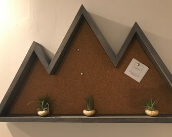 Three Peak Mountain Corkboard |Floating Shelf