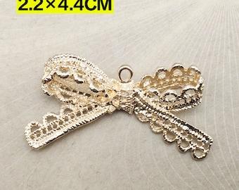 Lace Bowknot Charm Pendant Gold Drop Handmade Jewelry Finding 22x44mm 5 pcs
