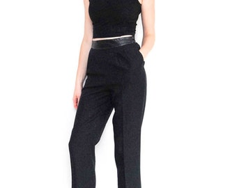 SALE high-waist black trousers | pleated wool | dress pants | leather waistband | ankle length pants |  lined bottoms | size 6 | size 4