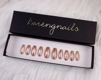 Rose Gold Glitter | Press On Nails | Glue On Nails | False Nails | Any Shape | Handpainted