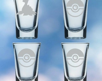 Set of 4 shot glasses inspired by anime and video games - permanently etched Lapras - Gift set