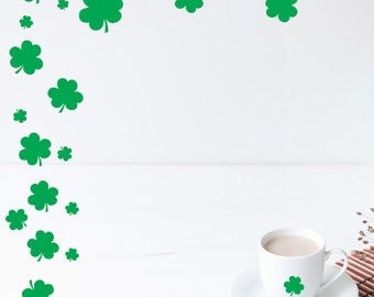 Set of 65 Green Shamrocks, St Patricks Day Decor, St Pattys Decal, Vinyl Shamrocks, Vinyl Holiday Decals Decor, Green Luck of the Irish