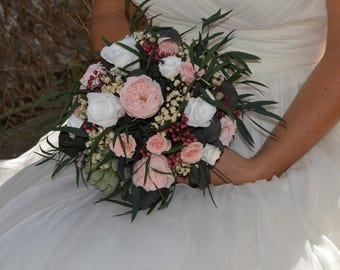 Wedding bouquet preserved flowers, keep your bouquet, preserved real flowers, romantic bridal bouquet, Boho bouquet, 2017 wedding trends
