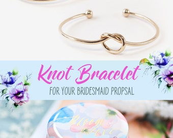 Knot Gift Bridesmaid , Bridal Shower Knot Bracelet , Bridal Shower Gift , Tie the Knot Bracelet , Bridesmaid Gift  with Baby Blue Floral Tin