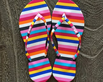 Rainbow Striped Flip Flops, Flip Flops with Stripes, Gifts for Her, Women Flip Flops, Best Friend Gift, Sister Gift, Women Sandals, Fun Gift