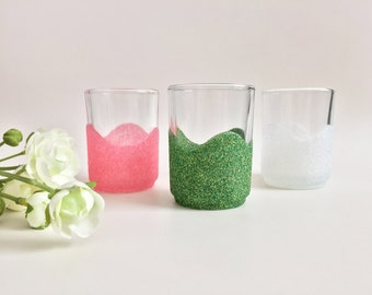 Baby Shower Table Decor, Tealight Candle Holders, Glitter Candle Holders, Wedding Table Decor, Bridal Shower Decorations, Pink Green White