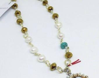 Evil eye necklace, Beaded necklace, Short necklace, Semi precious necklace, Summer necklace, Bohemian jewelry, Bohemian evil eye necklace!