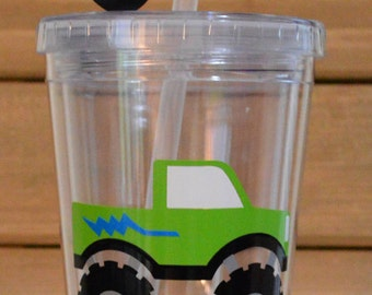Personalized Monster Truck Kids Tumbler Straw Cup! Monster Truck Cup! Kids Monster Truck Cup! Monster Truck Kids Cup! Your choice of colors!