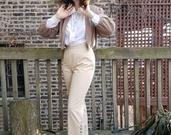 Vintage Together Women's Cream High Waisted Pant Laced Up Leg