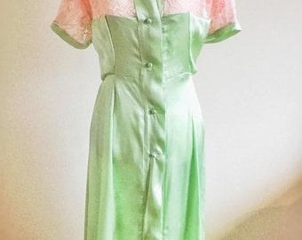 The Greta- Mint green, pink, 1930s, 30s, art deco, summer, silk, lace, robe, pinup, retro, vintage,