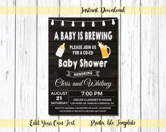 Baby is Brewing Invitation, Co Ed Baby Shower  Invitation, A Baby Is Brewing Invitation, Printable, Rustic, Wood, Beer Mugs,  10005