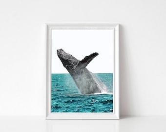 Whale Art Print, Whale Photo, Large Poster, Modern Minimal, Blue Waves, Whale Decor, Ocean, Whale Print