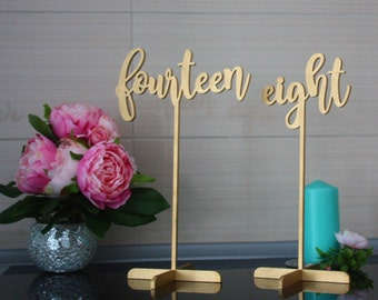Table Number.Gold Table Numbers. Table Numbers with base.Wedding Table Numbers.