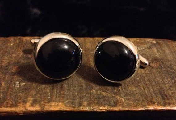 SALE Vintage Cufflinks Made From Vintage Black and Silver Costume Earrings