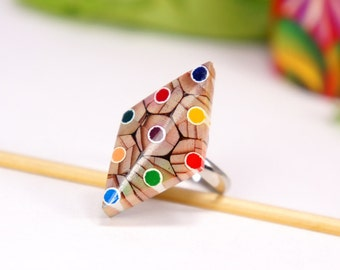 Rings from colored pencils, Ring from colored pencils, Jewelry from pencils, Handmade jewelry, colored jewelry, Pencil art