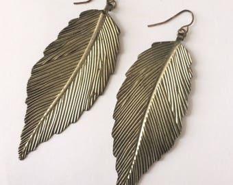 Vintage 1970's Leaf Dangle Drop Large Statement Earrings