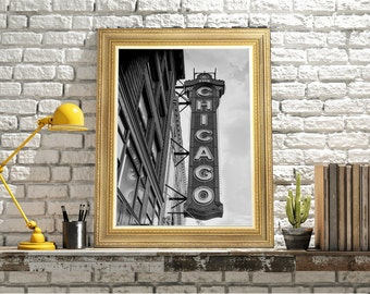 Chicago Sign, The Chicago Theatre, Chicago ILL, Movie Theatre, Movie Lovers Poster, Movie Buff Gift, Film Student Gift, Movie Signage