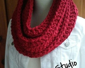 Red Crochet Chunky Infinity Cowl Scarf Valentine's Day Gift