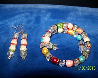 Memory Wire  Bracelet and earring set