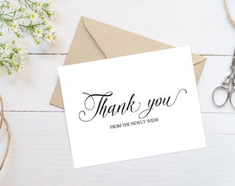 Wedding Thank You Cards Printable Thank You Wedding Cards Wedding Printables Personalized Thank You Card Calligraphy Cards Editable Template