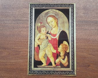 Madonna and Child with Saint John Unused Postcard Pier Fiorentino Painting Vintage 1970s Jesus Virgin Mary Mother of Christ Religious Card