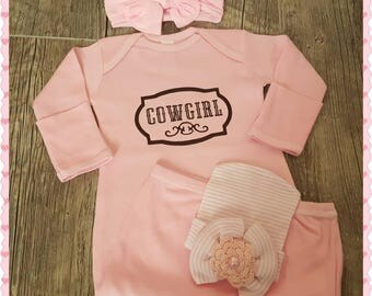 Newborn,  Cowgirl Gown with Bow & Cap... Makes a Perfect Coming Home Outfit or Baby Shower Gift