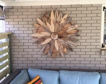 48 Reclaimed Wood Flower,Farm House Decor, Rustic Home Decor