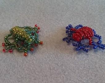 Beaded frog, 3d-beaded frog, frog figure