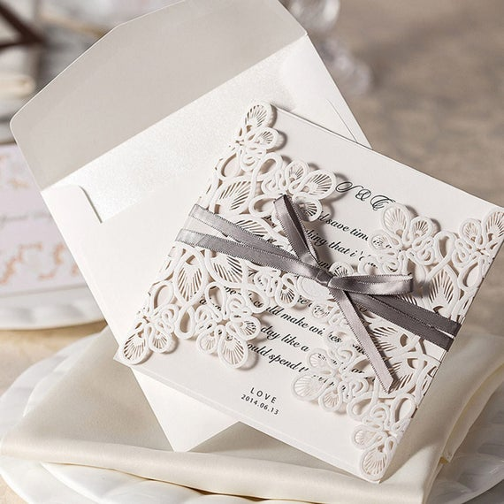 100 Rustic Wedding Invitation Kit/DIY Blank Wedding Invitation Kit/Square  Personalize Wedding Invitation Cards/DIY Custom White Lace Cards From ...