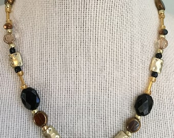 """Upcycled Jewelry """"Midas Touch"""" Beaded Necklace - Made with Vintage/ Recycled Materials"""
