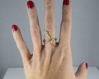 Lady's 14k Yellow Gold and Diamond Snake Wrap Fashion Ring