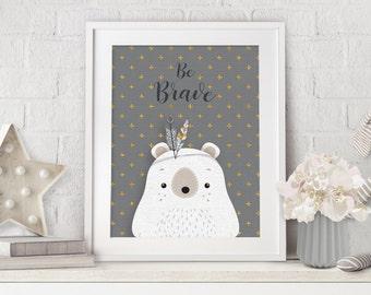 Woodlands Nursery Decor, Baby Woodland Decor, Nursery Art, Nursery Bear Decor, Bear Woodlands Prints, Nursery Teddy Bear, Baby Gift, Bear